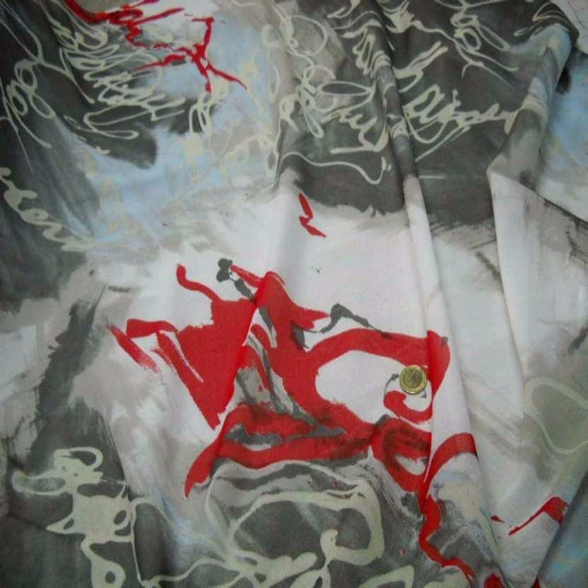Resille imprime blanche gris rouge1