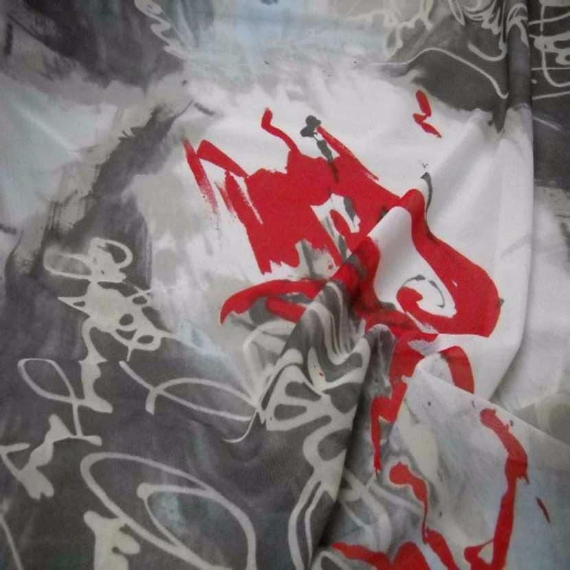 Resille imprime blanche gris rouge6