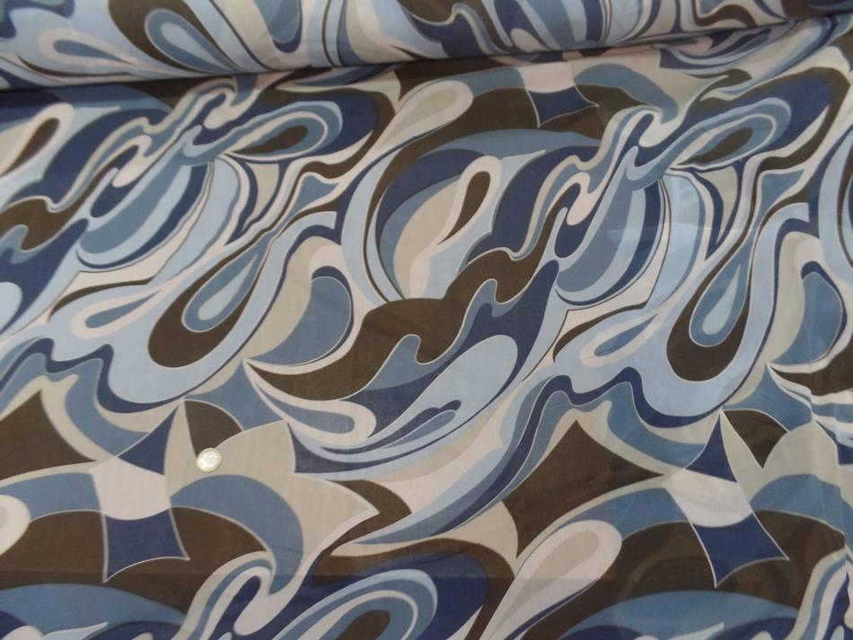 Resille lycra dans les 2 sens imprime annee 70 bleu et marron