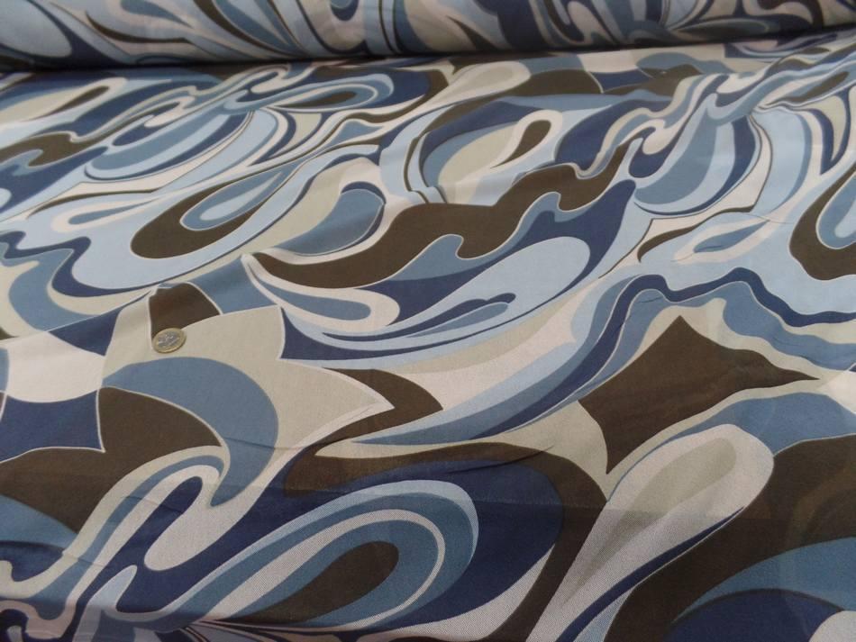 Resille lycra dans les 2 sens imprime annee 70 bleu et marron1