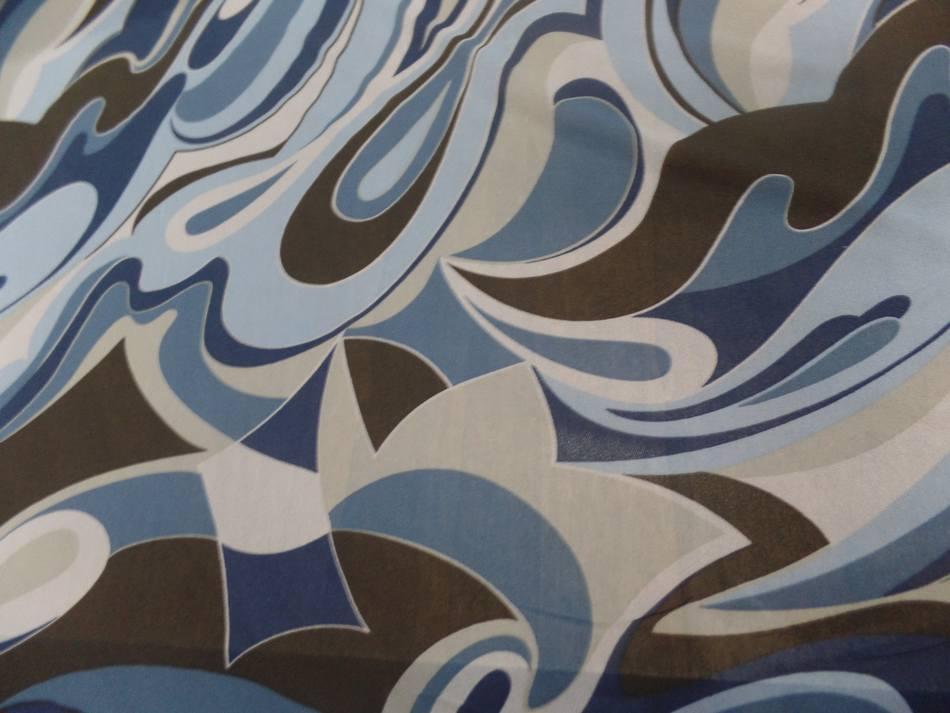 Resille lycra dans les 2 sens imprime annee 70 bleu et marron5