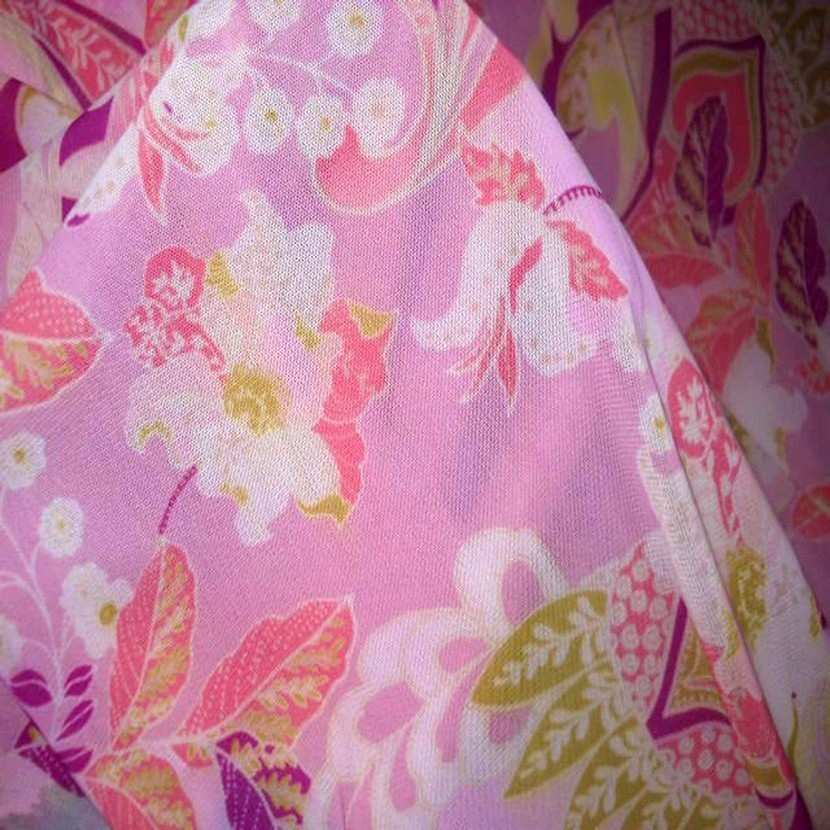 Resille lycra imprime fleurs rose et anis