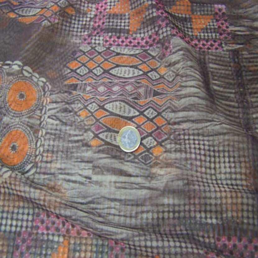 Resille marron imprime orange