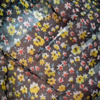 Resille noire imprime petite fleurs jaune