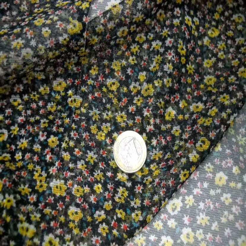 Resille noire imprime petite fleurs jaune6