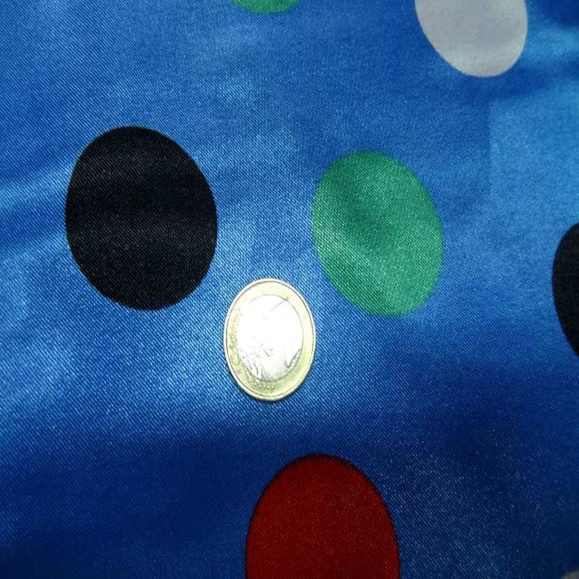 Satin bleu imprime pois4