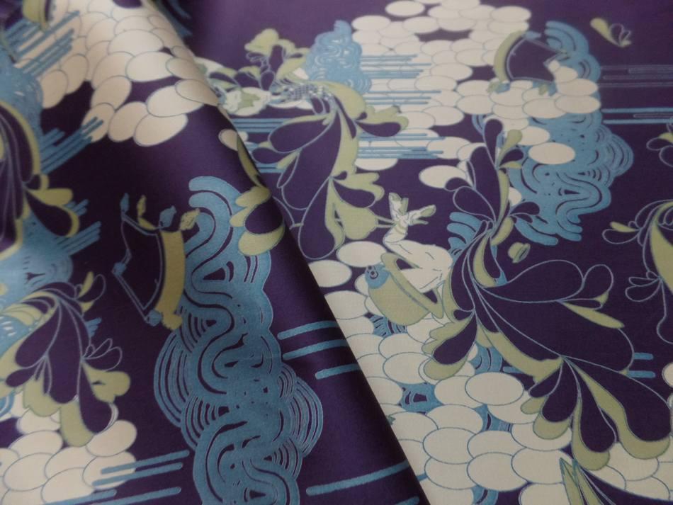 vente de tissu Satin coton lycra aubergine imprimé