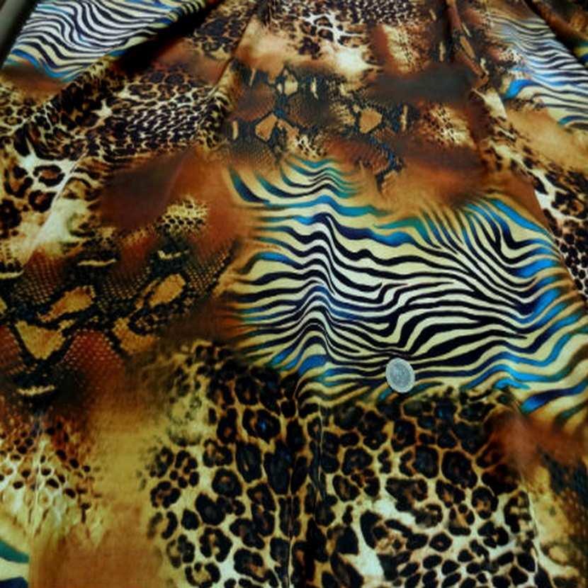 Satin de soie imprime fauve turquoise