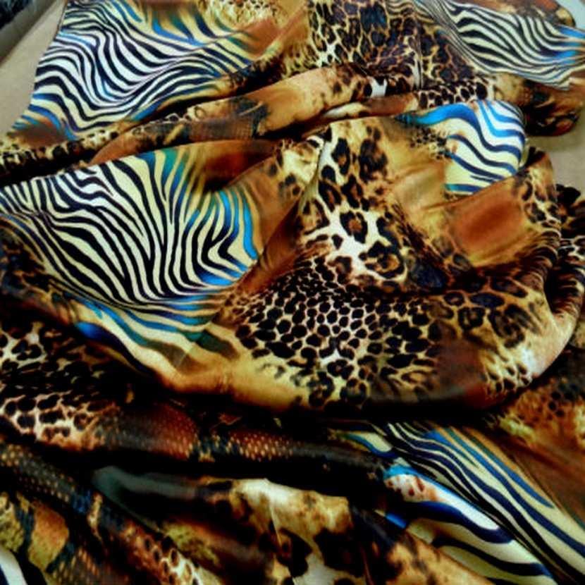 Satin de soie imprime fauve turquoise8