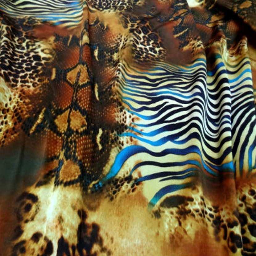 Satin de soie imprime fauve turquoise9