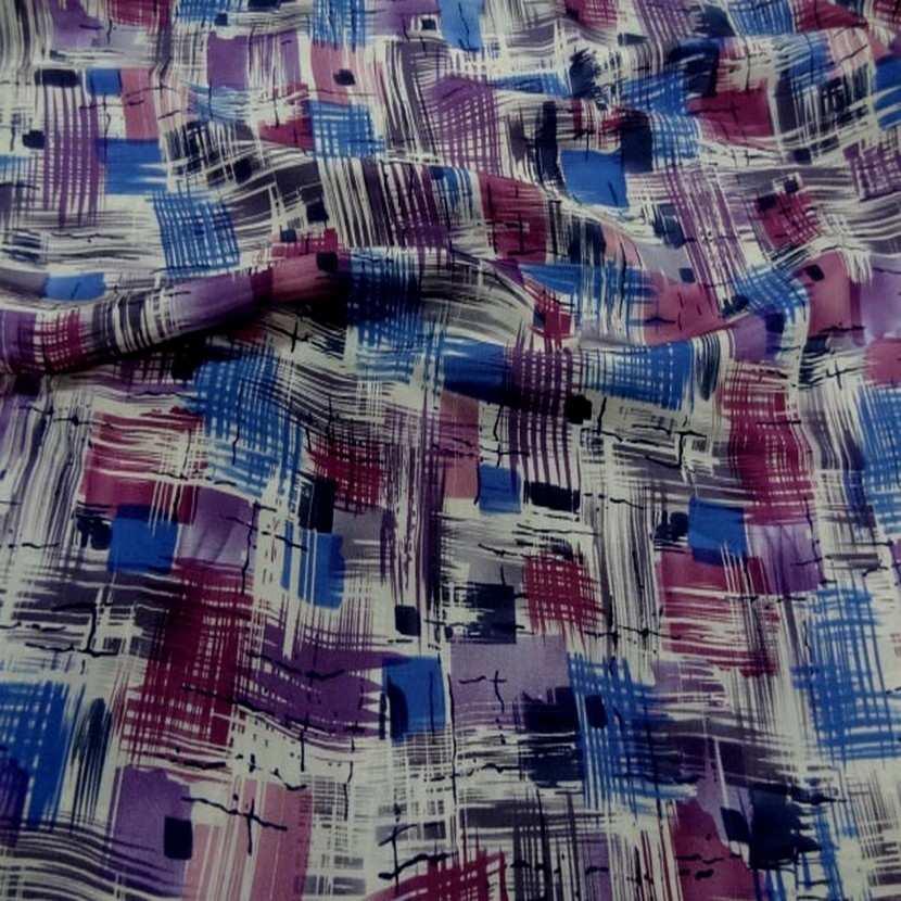 Satin de soie imprime ton violet bleu blanc