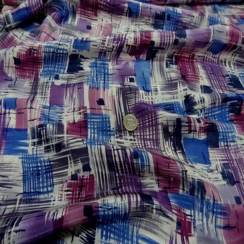 Satin de soie imprime ton violet bleu blanc2