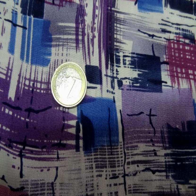 Satin de soie imprime ton violet bleu blanc6