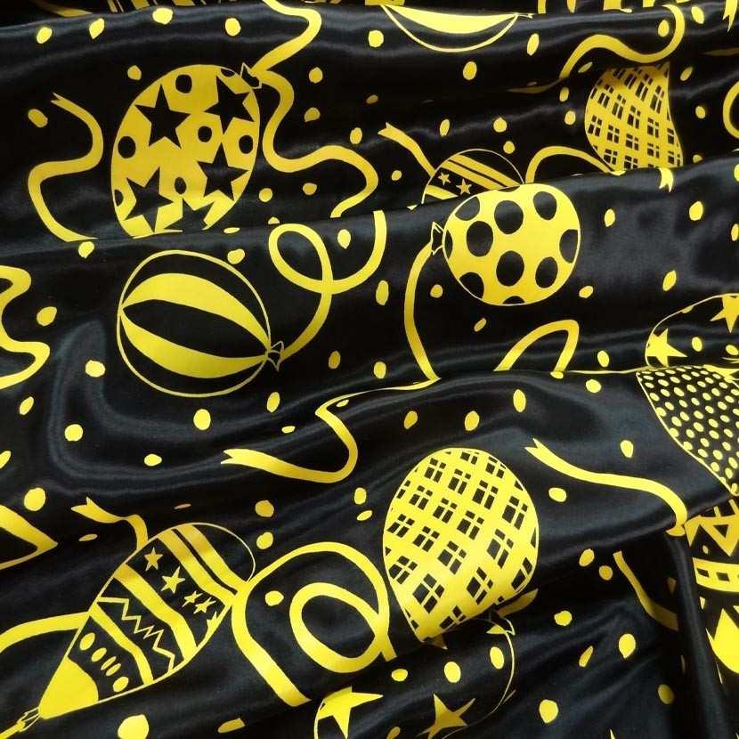 Satin noir imprime jaune7