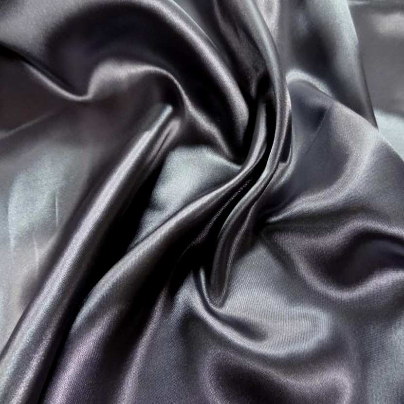 Satin polyester gris fonce