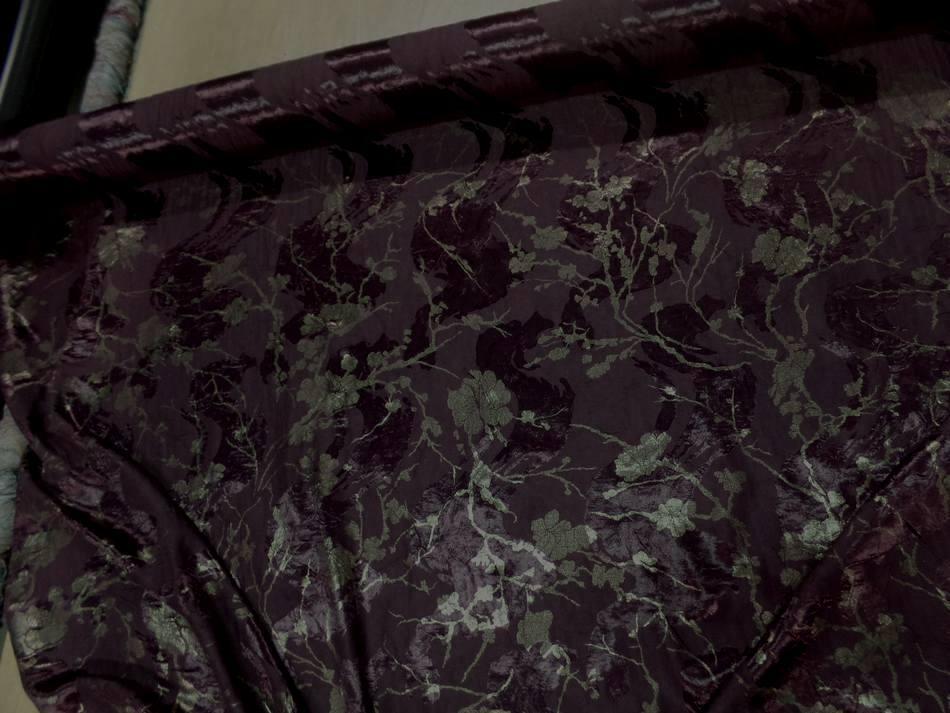 vente de tissu satin viscose double face aubergine froissé permanent imprimé fleurs doré en ligne