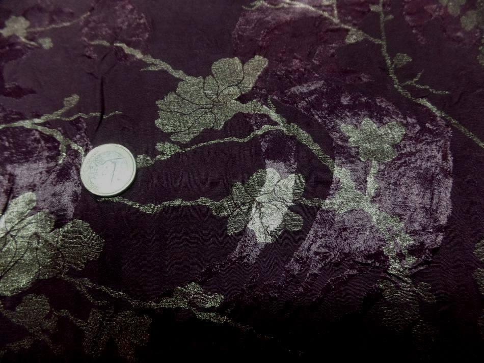 vente de tissu satin viscose double face aubergine froissé permanent imprimé fleurs doré