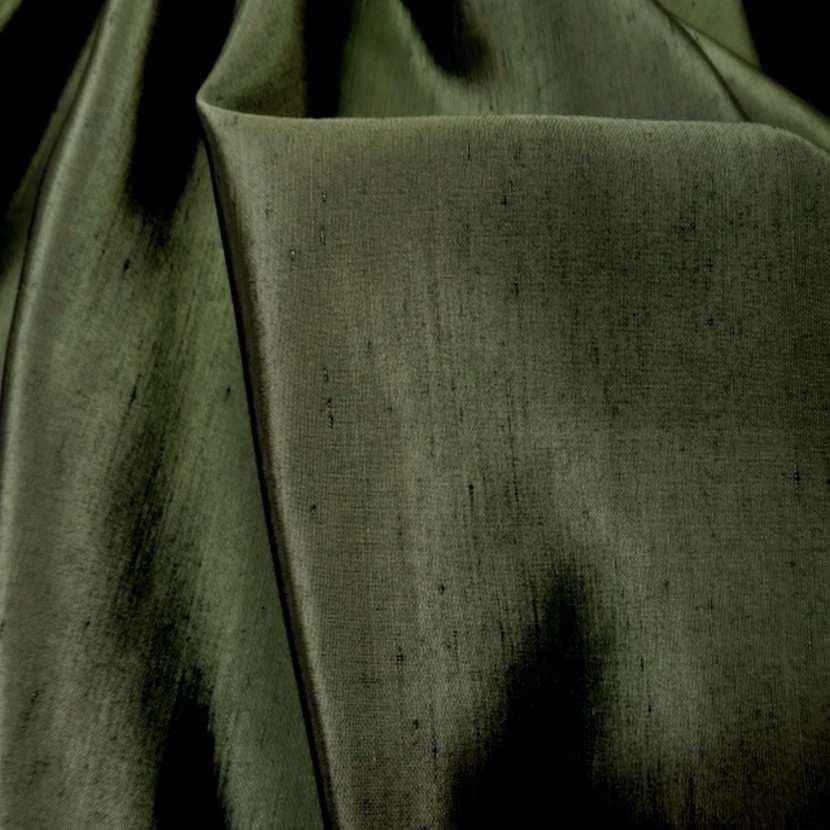 Satine effet dupions kaki polyester viscose