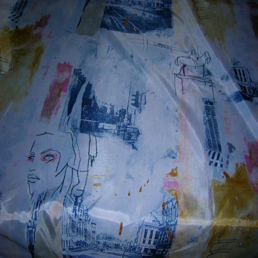 Satine imprime blanc bleu0