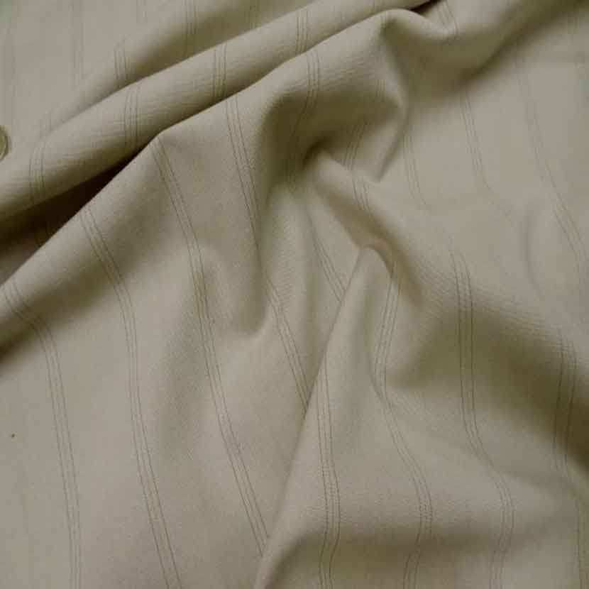 Stretch polyester a rayures beige