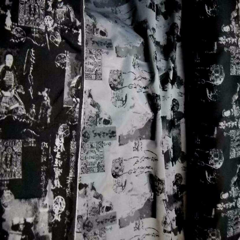 Style taffetas faconne ton gris et noir imprime samourai2