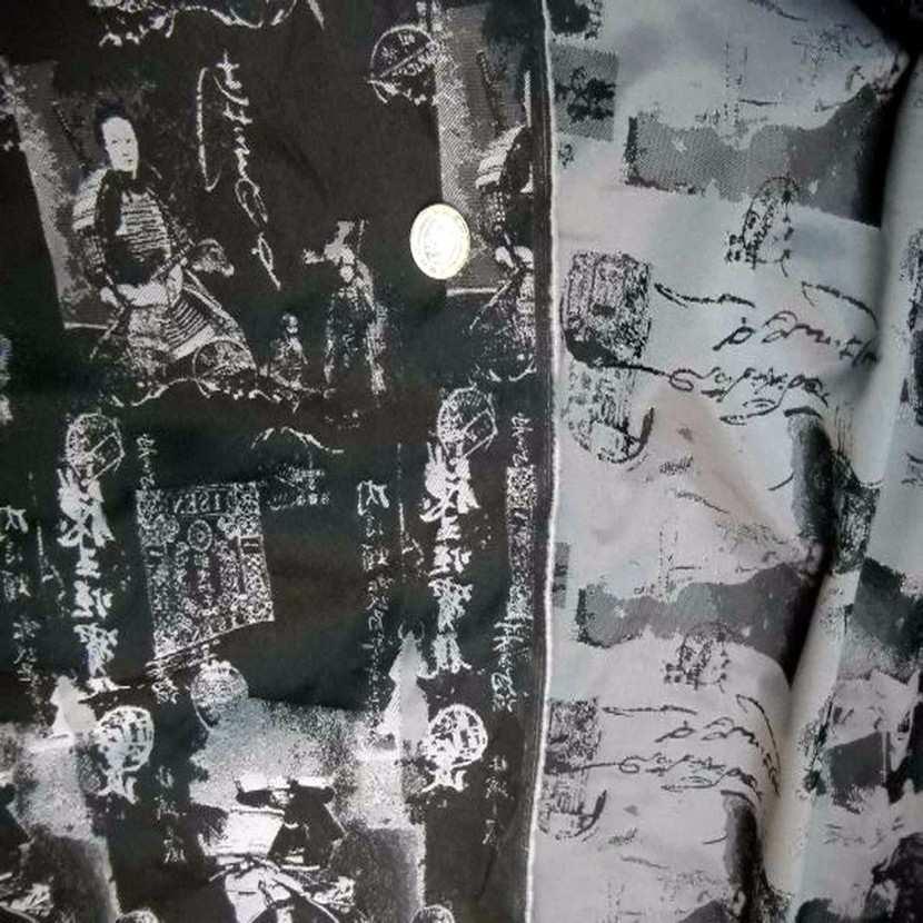 Style taffetas faconne ton gris et noir imprime samourai3