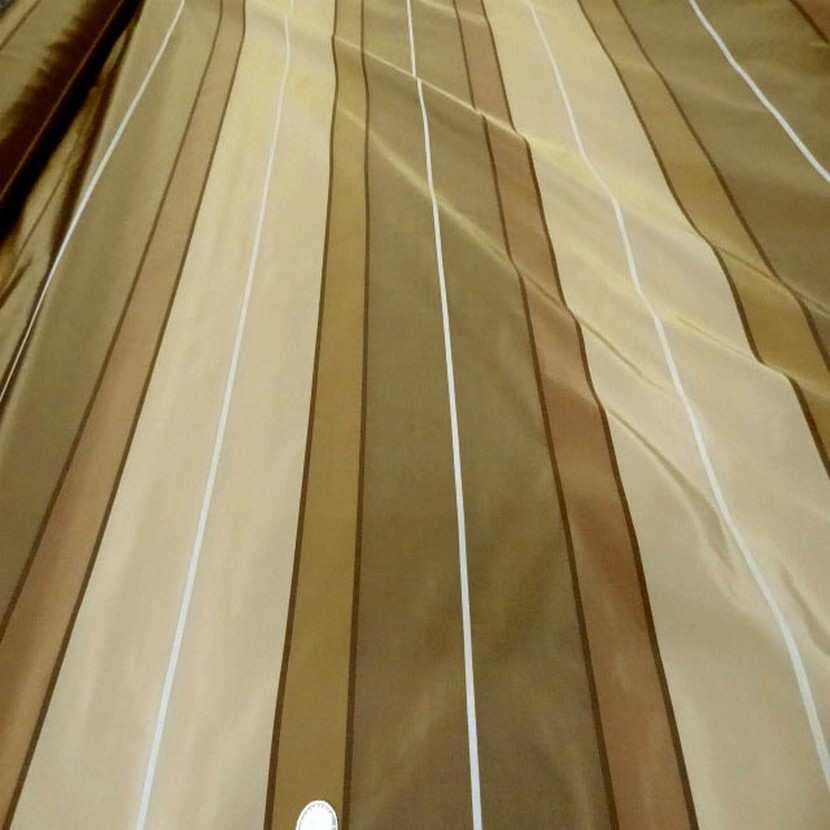 Taffetas a bandes ton beige kaki taupe en 3 20m de l