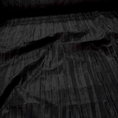 Taffetas changeant plisse permanent noir reflets marron