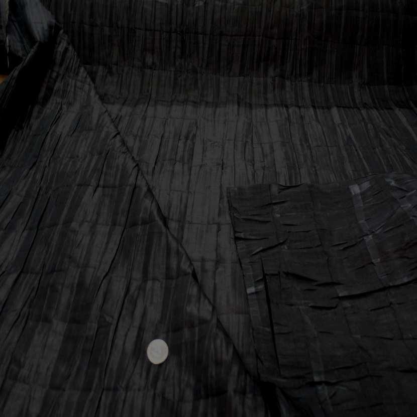 Taffetas changeant plisse permanent noir reflets marron5