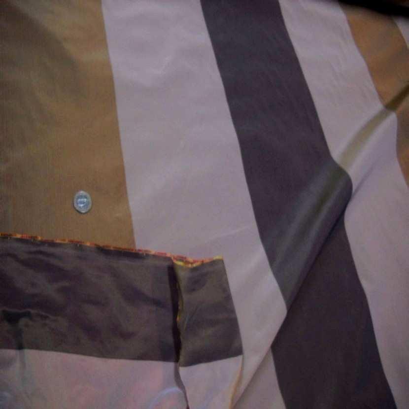 Taffetas d ameublement a rayures gris beige dore a reflets orange08