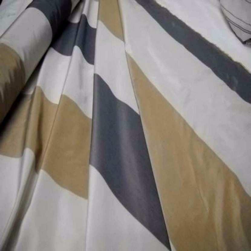 Taffetas d ameublement a rayures gris beige dore05