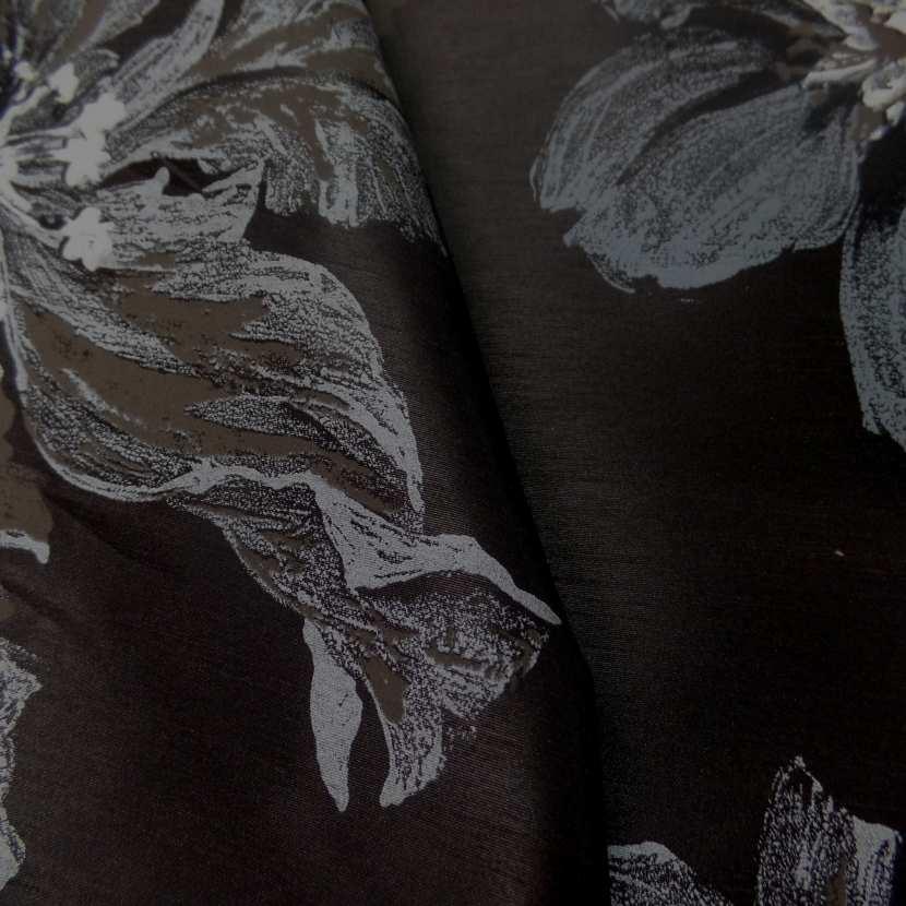 Taffetas d ameublement changeant marron noir imprime grosses fleurs taupe gris3