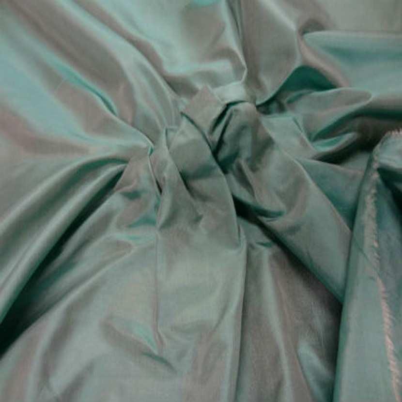 Taffetas de soie 100 turquoise reflets blanc2