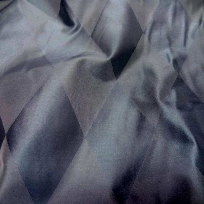 Taffetas de soie dessin arlequin ton bleu gris en 1 45m de l1 1