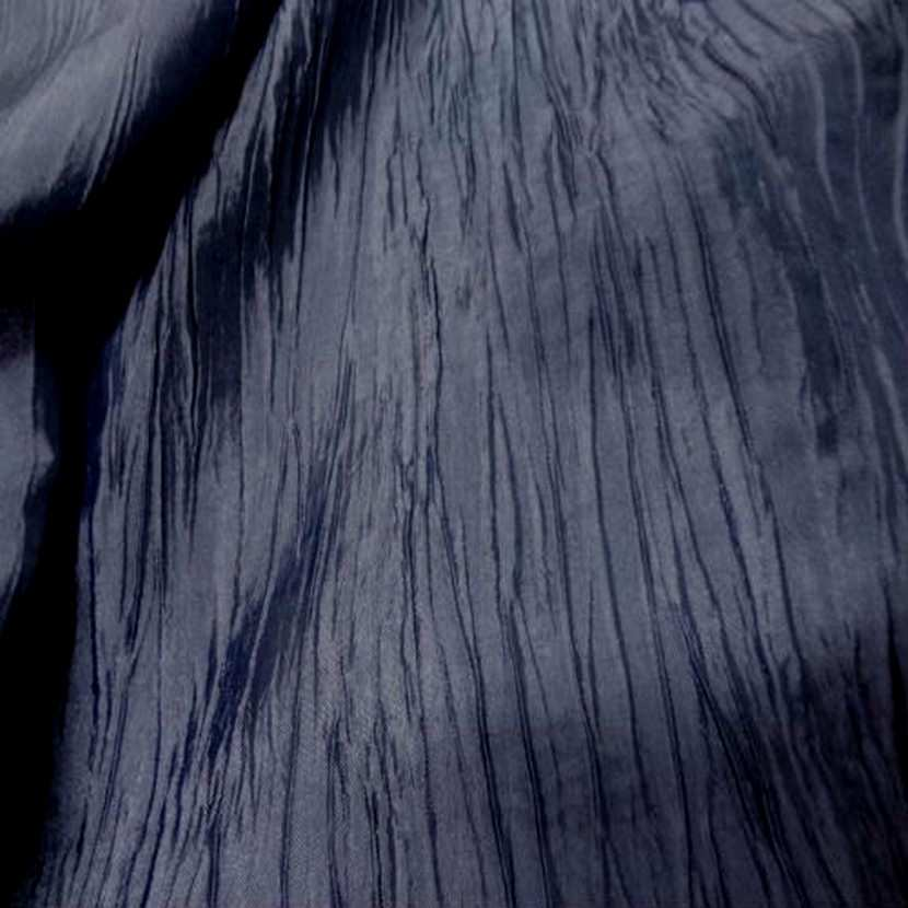 Taffetas froisse plisse gris bleu metal zinc