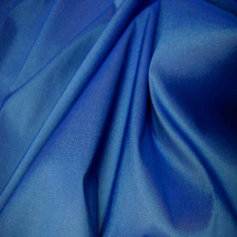 Taffetas lycra souple bleu reflets blanc