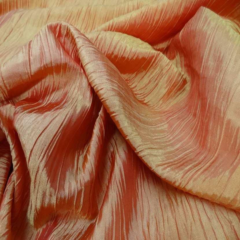 Taffetas plisse changeant rouge reflets jaune5