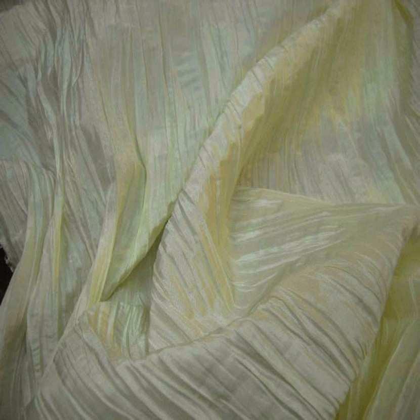 Taffetas plisse permanent ton jaune