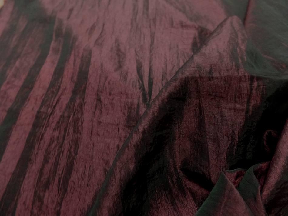 vente de tissu Taffetas souple froissé permanent changeant rouge bordeaux a reflets noir
