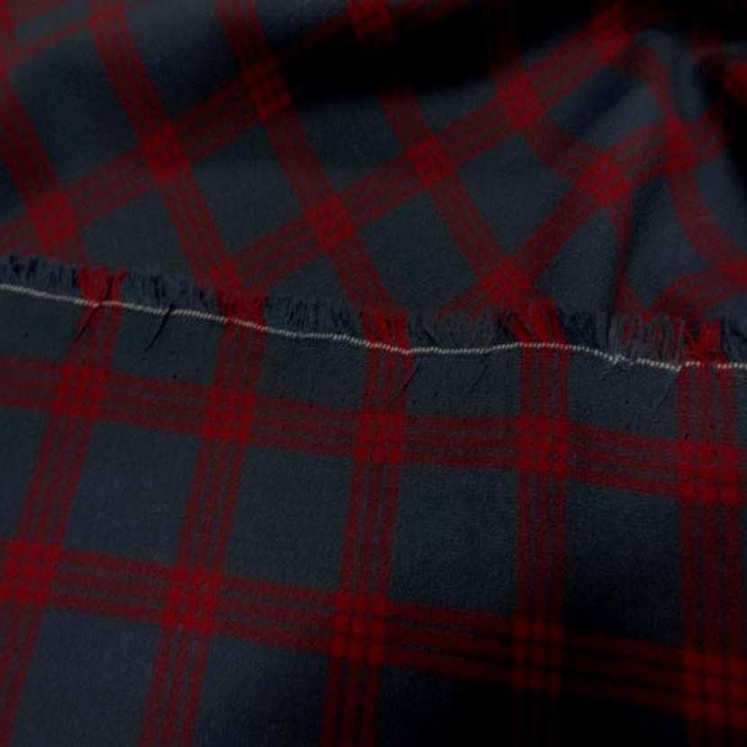 Tergal bi stretch gris anthracite a carreaux rouge