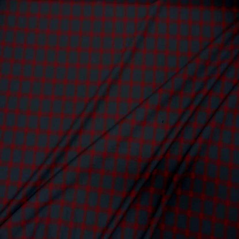 Tergal bi stretch gris anthracite a carreaux rouge07