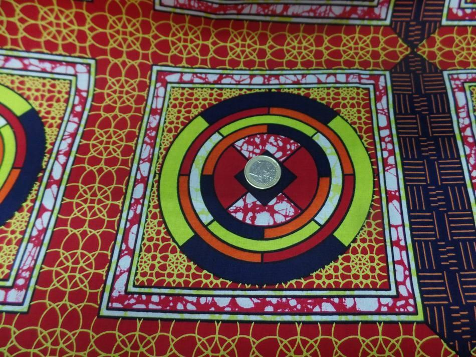 vente de tissu africain Wax rouge imprimé jaune ,noir
