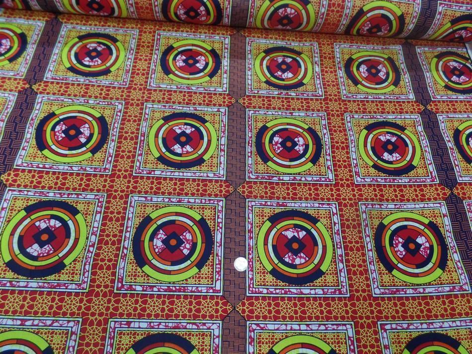 achat tissu africain Wax rouge imprimé jaune ,noir