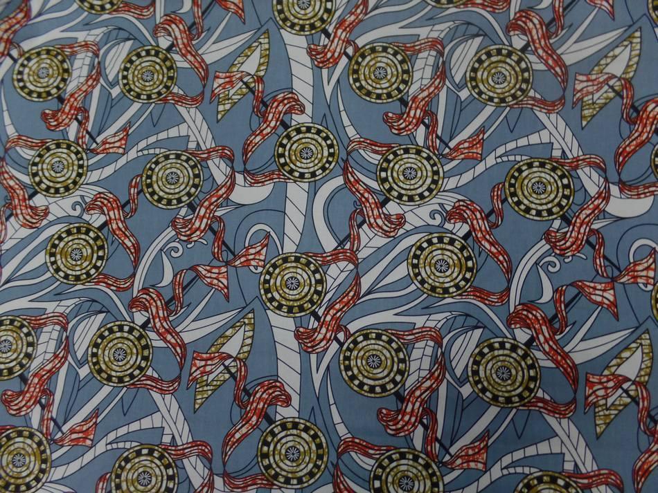 tissu africain wax ton gris ,blanc ,rouge