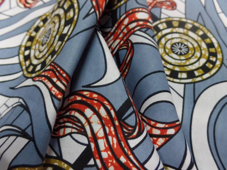 vente de tissu africain wax ton gris ,blanc ,rouge