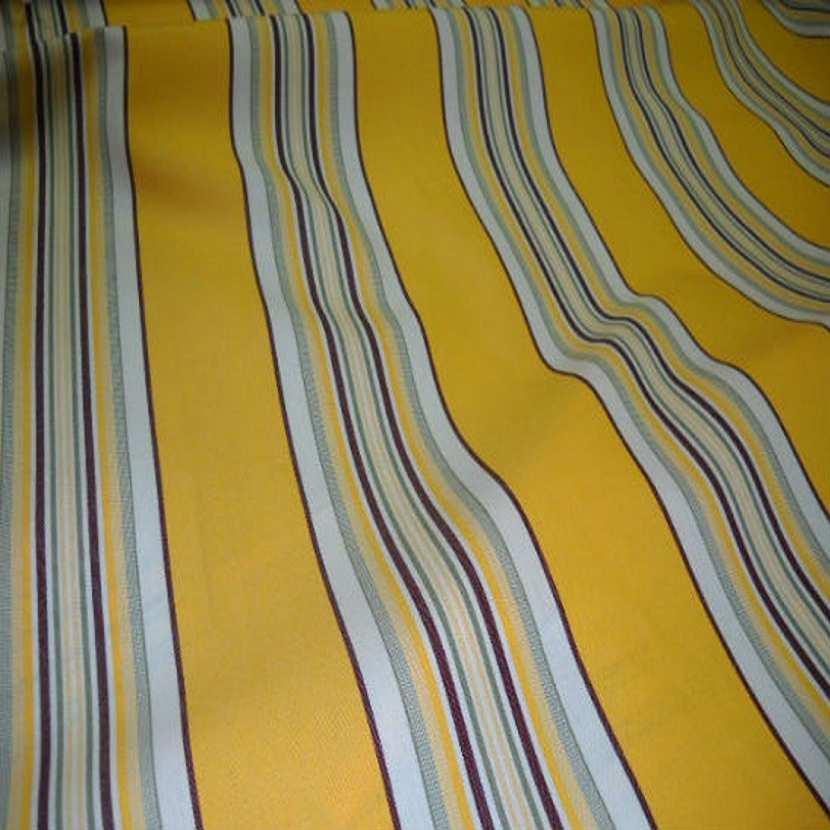 Tissu bâche 4 saisons pour l extérieur jaune a rayures fine en téflon