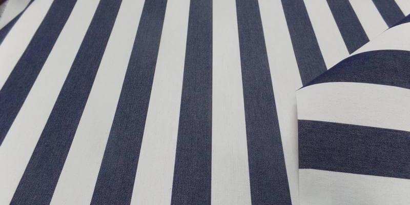 Tissu bâche d'extérieur rayé blanc bleu foncé 4 saisons en téflon
