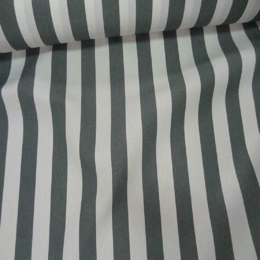 Tissu bâche pour l exterieur 4 saisons a grosse rayure blanche et grise en teflon