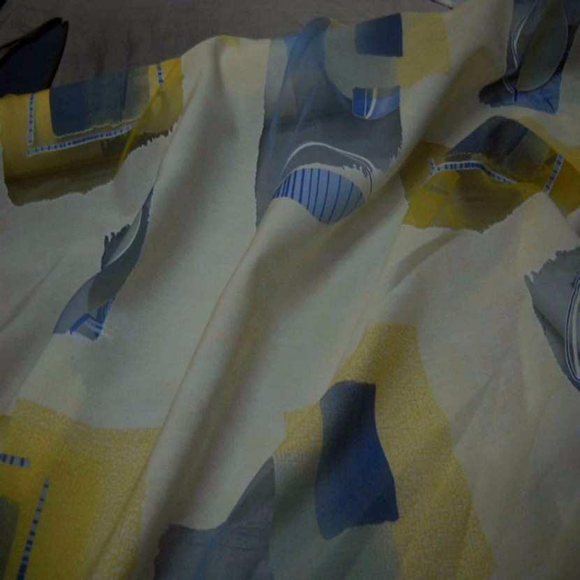 Tissu beige bleu devore
