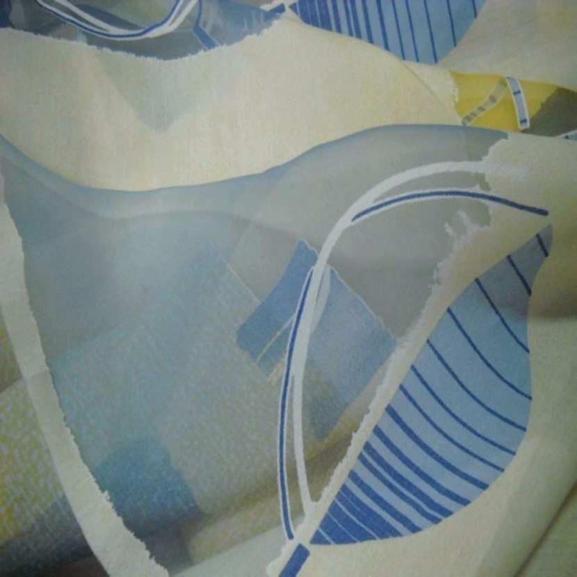 Tissu beige bleu devore7